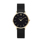 CLUSE Minuit Gold & Black Mesh Watch