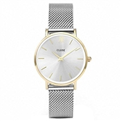 CLUSE Minuit Mesh Gold & Silver Watch