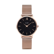 CLUSE Minuit Black & Rose Gold Mesh Watch