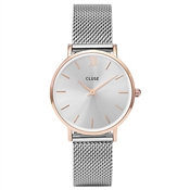 CLUSE Minuit Rose Gold & Silver Mesh Watch