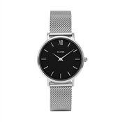CLUSE Minuit Black & Silver Mesh Watch