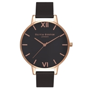 Olivia Burton Rose Gold & Black Mesh Watch