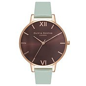 Olivia Burton Brown Big Dial Mint & Rose Gold Watch