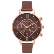Olivia Burton Big Dial Chrono Brown & Rose Gold Watch