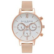 Olivia Burton Rose Gold Chrono Detail Mesh Watch