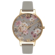 Olivia Burton Flower Show Grey & Gold Watch