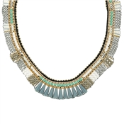 August Woods Grey & Turquoise Collar Necklace