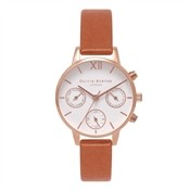 Olivia Burton Rose Gold & Tan Chrono Detail Watch
