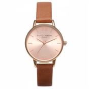 Olivia Burton Midi Dial Tan & Rose Gold Watch