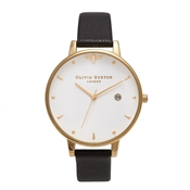 Olivia Burton Queen Bee Black & Gold Watch
