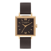 Olivia Burton Square Dial Black & Gold Watch