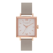 Olivia Burton Square Dial Rose Gold & Grey Watch
