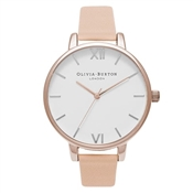 Olivia Burton White Big Dial Nude Peach Watch