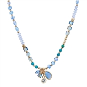 August Woods Blue & Gold Beaded Necklace