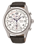 Seiko Mens Brown Leather Chronograph Watch