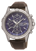 Seiko Mens Solar Chronograph Brown Leather Watch