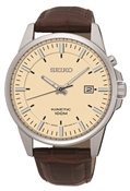 Seiko Mens Brown Leather Kinetic Watch