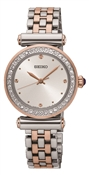 Seiko Silver, Crystal & Rose Gold Bracelet Watch