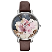 Ted Baker Burgundy Strap & Floral Dial Kate Watch