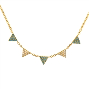 Argento Turquoise & Gold Triangle Necklace