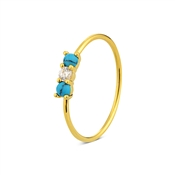 Argento Gold & Turquoise Crystal Ring