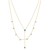 Argento Gold & Turquoise Lariat Layered Necklace
