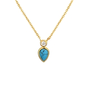 Argento Gold & Turquoise Crystal Necklace