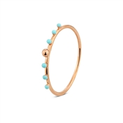 Argento Rose Gold & Turquoise Bead Ring