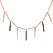 Argento Rose Gold & Turquoise Drop Bar Necklace