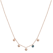 Argento Rose Gold & Turquoise Circle Drop Necklace