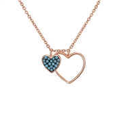 Argento Rose Gold & Turquoise Heart Necklace