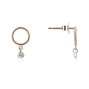 Argento Rose Gold Open Circle Drop Earrings