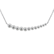 Argento Silver Curved Crystal Necklace