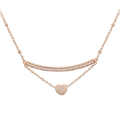 Argento Rose Gold Curved Bar Heart Necklace