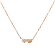 Argento Rose Gold Double Heart Necklace