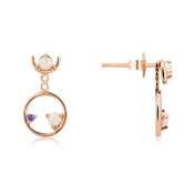 Argento Rose Gold & Opal Circle Earrings