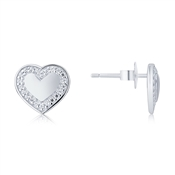 Argento Silver Crystal Border Heart Studs