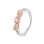 Argento Silver & Rose Gold Bow Ring
