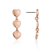 August Woods Rose Gold Drop Hearts Earrings