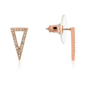 Dirty Ruby Rose Gold Crystal Triangle Earrings