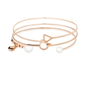 August Woods Rose Gold Pearl Bangle Set