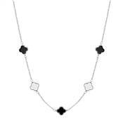 August Woods Silver & Black Clover Necklace