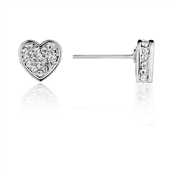 August Woods Silver Crystal 3D Heart Studs
