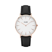 CLUSE La Bohème Black Strap & Rose Gold Watch