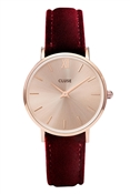 CLUSE Minuit Rose Gold & Red Velvet Watch