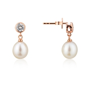 Argento Rose Gold Crystal Drop Pearl Earrings