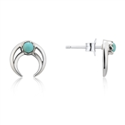 Argento Turquoise Crescent Moon Studs