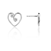 Argento Crystal Heart Stud Earrings