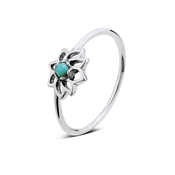 Argento Turquoise Lotus Flower Ring
