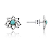 Argento Turquoise Lotus Flower Studs